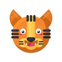 Vetor de emoji engraçado engraçado de expressão feliz de tigre