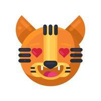 tigre com corações nos olhos expressão emoji vector