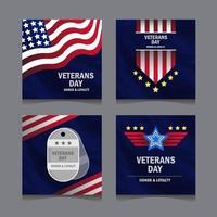 conjunto de mídia social do dia dos veteranos vetor