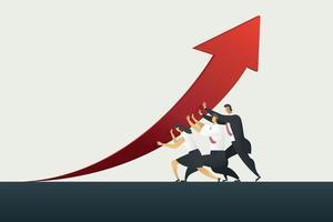 trabalho em equipe de pessoa de negócios segurando a seta para cima o caminho para o objetivo de negócios. vetor