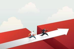 empresário correndo cruzar a ponte da seta vermelha para atingir a meta. vetor