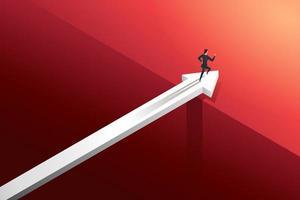 empresária correndo na seta sobre a ponte com desafio. vetor