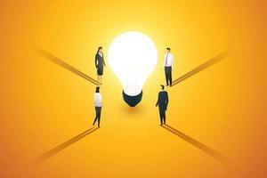 um grupo de empresários faz um brainstorm de ideias para inspiração e criatividade. vetor