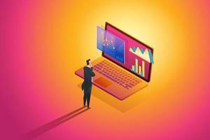 o empresário em pé olha os dados de análise e o investimento. vetor