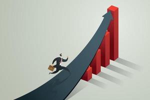 empresário correndo para a seta para atingir uma meta e crescimento do negócio. vetor