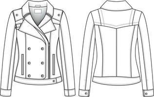 ilustração técnica de jaqueta de couro. esboço de moda plana editável vetor