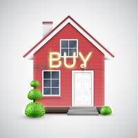 "Casa realista com sinal de ""comprar"" de néon, vetor"