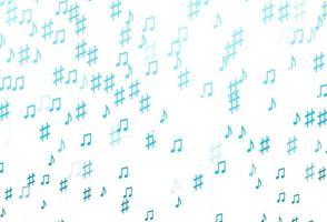 fundo azul claro do vetor com símbolos musicais.