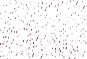 pano de fundo vector vermelho claro com notas musicais.