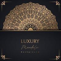 Fundo de padrão de mandala de luxo com arabescos dourados vetor