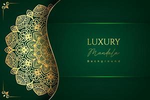 Fundo de desenho de mandala ornamental de luxo na cor verde vetor