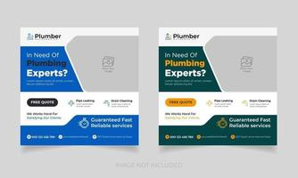 modelo de banner de serviço de qualidade de encanamento grátis. encanador redes sociais vetor