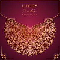 Fundo de desenho de mandala ornamental de luxo na cor ouro vetor