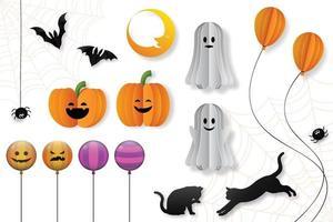 elementos decorativos de halloween em estilo de corte de papel, ilustração vetorial. vetor