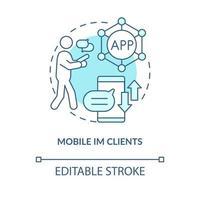 ícone de conceito azul cliente im móvel vetor