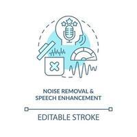 ícone de conceito azul de remoção de ruído vetor
