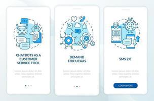 tela de página de aplicativo móvel de integração de software de mensagens tendência azul vetor