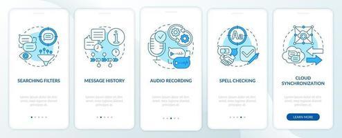 melhor recurso de mensagens tela azul da página do aplicativo móvel de integração vetor