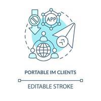 ícone de conceito azul cliente im portátil vetor