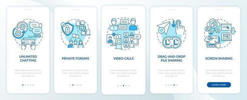tela azul da página do aplicativo móvel de integração da opção de mensagens de negócios vetor