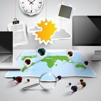 Mapa do mundo em 3D com ferramentas de escritório, ensolarado, vetor