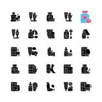 ícones de glifo preto de tratamento médico definidos no espaço em branco vetor