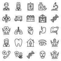 conjunto de ícones de saúde - ilustração vetorial. vetor