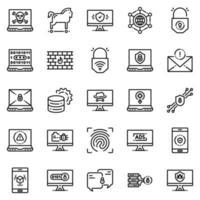 Conjunto de ícones de segurança cibernética - ilustração vetorial. vetor