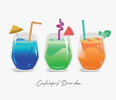 três bebidas coloridas vetor