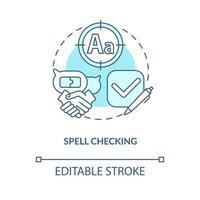 ícone do conceito de verificação ortográfica azul vetor