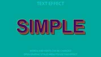modelo de efeito de texto de cor roxa de estilo simples vetor