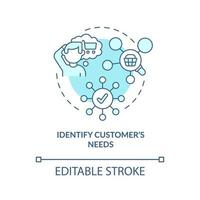 identificar as necessidades dos clientes ícone de conceito azul vetor