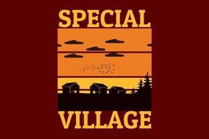 design retro da silhueta especial da aldeia vetor