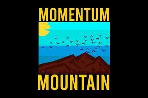 momentum mountain silhouette design retro vetor