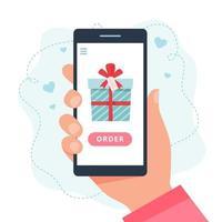 presentes de compras online. tela com presente. vetor
