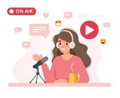 podcaster feminino falando para podcast de gravação de microfone. vetor
