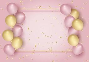 moldura de celebração com confete e balões 2804 vetor
