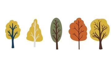 Conjunto de vetores de árvores de outono com tronco e folhagem brilhante