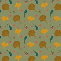 Outono padrão sem emenda com folhas e grãos. vetor