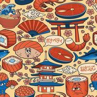 padrão sem emenda de arte comida japonesa vetor
