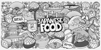 comida japonesa doodle fundo preto e branco vetor