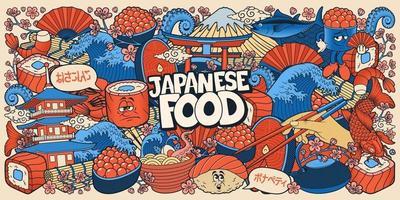 fundo de doodle de comida japonesa vetor