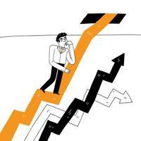 empresário escalando linha de gráfico vetor