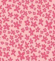 padrão sem emenda ditsy com rabiscos de flores rosa simples desenhados à mão vetor