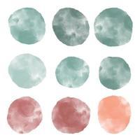 coleção aquarela abstrata texturizada com círculos de forma orgânica em mármore vetor