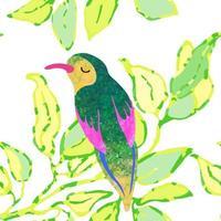 fundo transparente com ilustração em aquarela de folhas e pássaros vetor