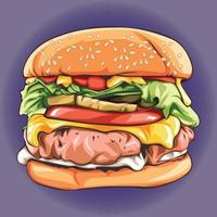 hambúrguer delicioso realista com carne vetor