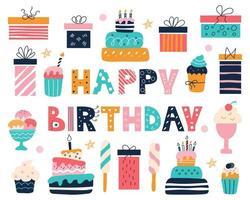 aniversário brilhante com uma inscrição no estilo doodle vetor