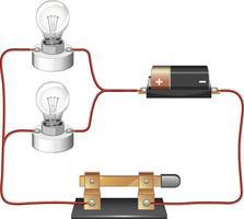 diagrama de circuito com bateria e lâmpada vetor