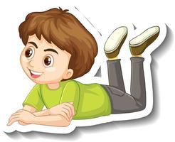 Adesivo de um garoto fazendo pose de personagem de desenho animado vetor